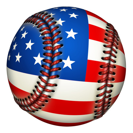 Illustration of a baseball with stars and stripes.