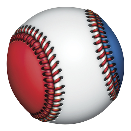Illustration of a red, white, and blue baseball.