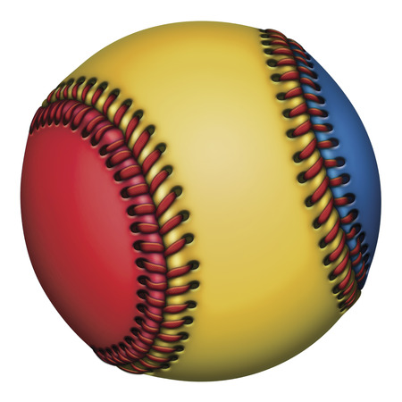Illustration of a red, yellow, and blue baseball. Stock fotó