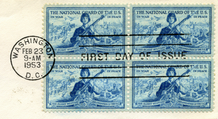U.S. Postage Stamps commemorating the U.S. National Guard. Stamps are pre-1978 and are cancelled (from my personal stamp collection.) Stock Photo