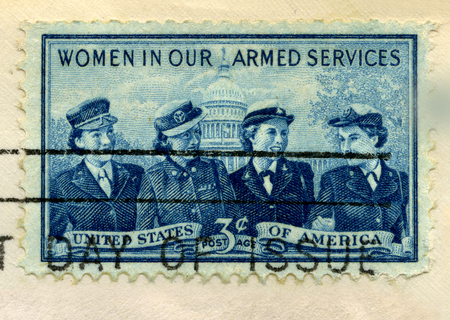 1952 U.S. Postage Stamp commemorating women in the United States armed services. Stamp is from my personal stamp collection. Stok Fotoğraf