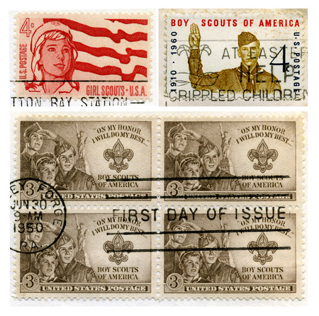 U.S. Postage Stamps commemorating the Girl Scouts and the BoyScouts. Stamps are pre-1978 and are cancelled (from my personal stamp collection.)