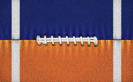 Digital Illustration of a footballs texture, laces, and stripes to use as a background for text or other graphics. Banco de Imagens