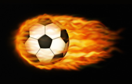 Photo-illustration of a flaming soccerball.