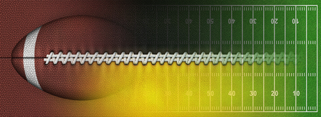 Digital Illustration of a football?s texture, laces, and a football field to use as a background for text or other graphics.