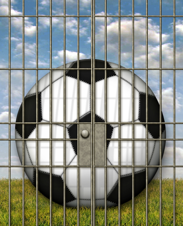 Illustration of a soccer ball in a jail cell. Banco de Imagens