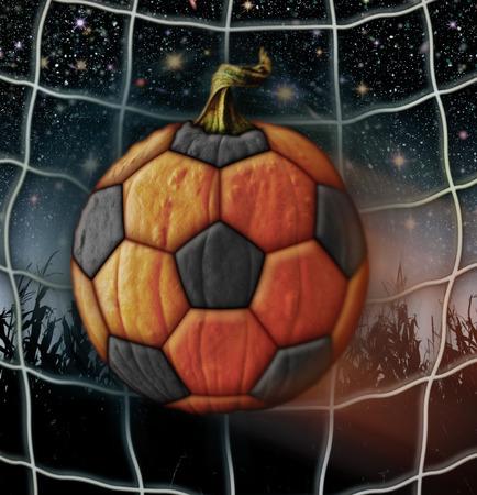 Photo-Illustration of a pumpkin soccer ball.