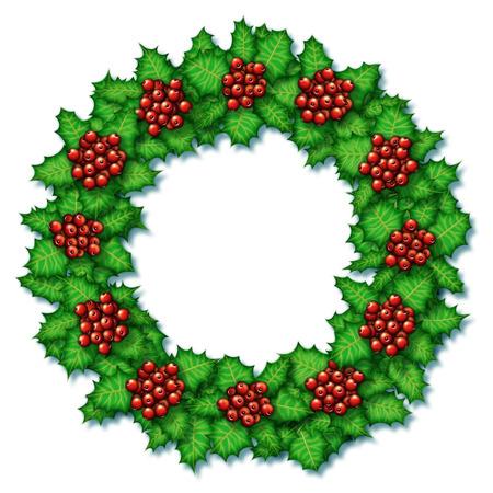 Digital illustration of holly plants arranged in a wreath. Banco de Imagens