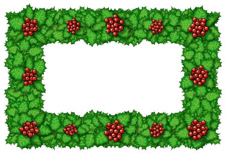 Digital illustration of holly arranged into a frame.