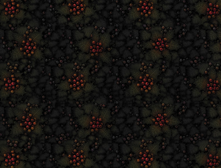 Digital illustration of holly plants with mutiple colors of berries filling the entire canvas with deep dark shadows.