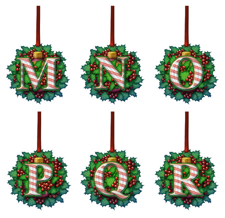 A candy cane alphabet made out of holly and glass ball ornaments.