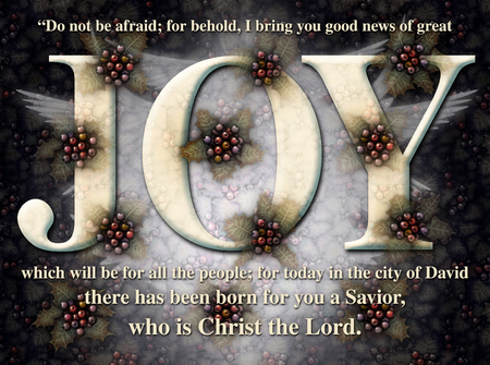 Digital illustration with the word Joy as the key feature, decorated with Holly, Angel wings, and a bible verse announcing the birth of Christ.