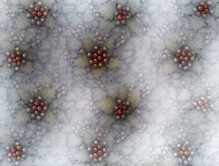 Digital illustration of ice and frost covered holly plants below the surface of a frozen pond.