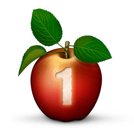 3D illustration of an apple with the number 1 bitten out of it.