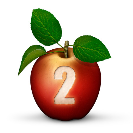 3D illustration of an apple with the number 2 bitten out of it.