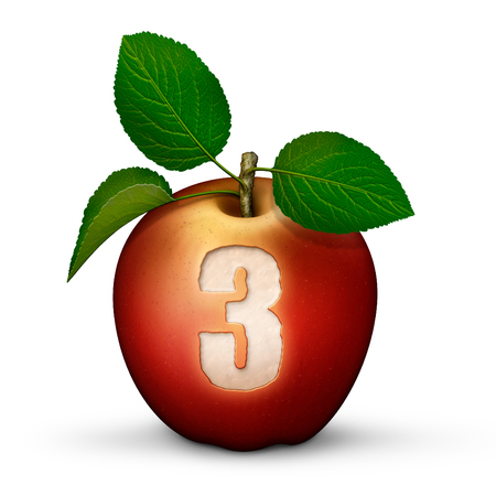 3D illustration of an apple with the number 3 bitten out of it.