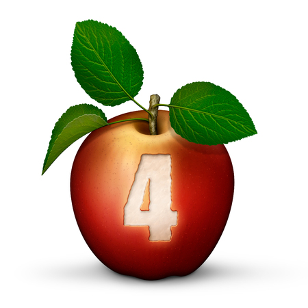 3D illustration of an apple with the number 4 bitten out of it.