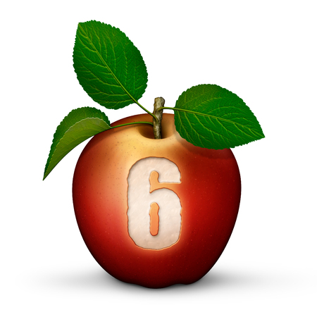 3D illustration of an apple with the number 6 bitten out of it.
