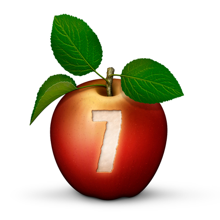3D illustration of an apple with the number 7 bitten out of it.