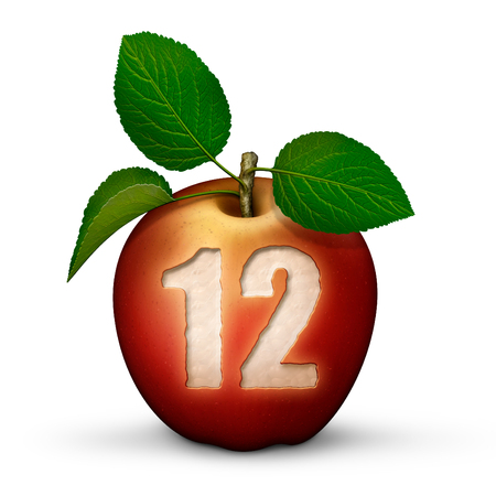 3D illustration of an apple with the number 12 bitten out of it.
