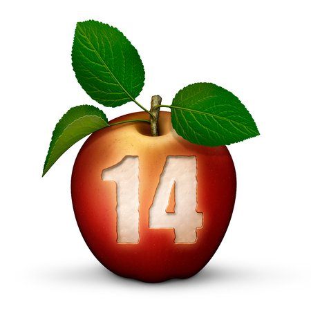 3D illustration of an apple with the number 14 bitten out of it.