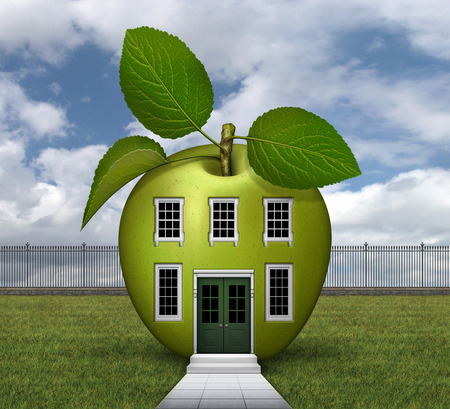 3D illustration of green apple shaped house with windows, doors, lawn, fence, steps, and sidewalk. Stock Photo