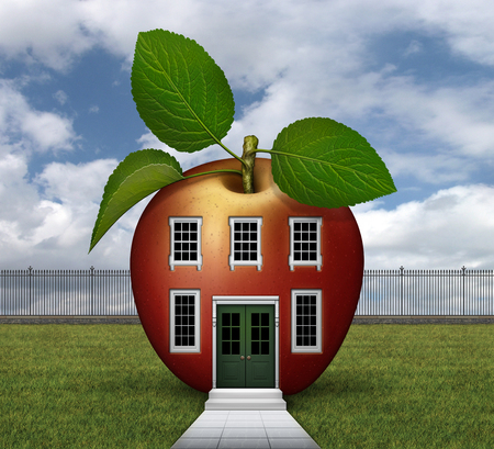 3D illustration of red apple shaped house with windows, doors, lawn, fence, steps, and sidewalk.