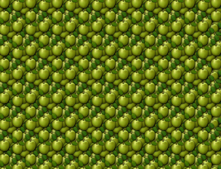 Digital illustration of apples arranged as a background pattern. Stock Photo
