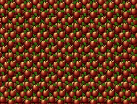 Digital illustration of apples arranged as a background pattern. Banco de Imagens