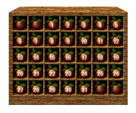 3D illustration of calendar numbered apples displayed in wooden cubicles.