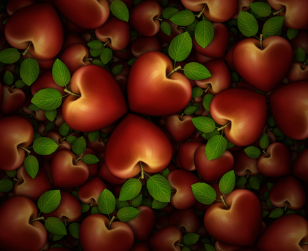 3D illustration of a dozens of red heart shaped apples arranged in clover like three part groupings.