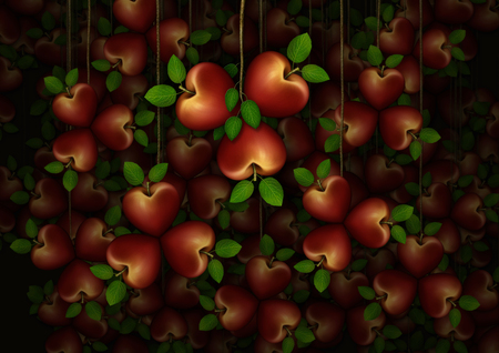 3D illustration of a dozens of red heart shaped apples arranged in clusters of three.