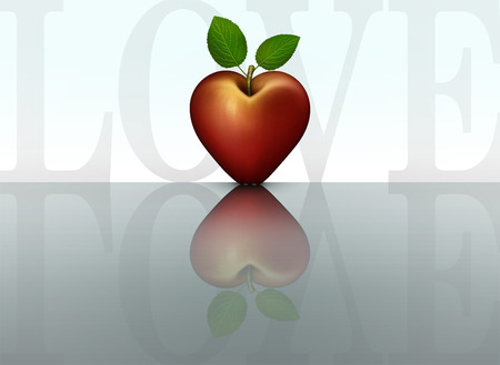3D illustration of a red heart shaped apple and the word Love mirrored on a reflective table top.