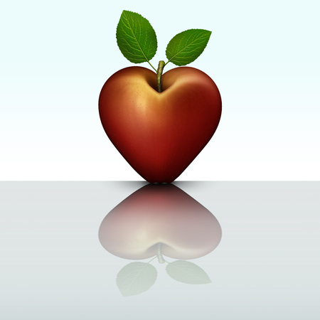3D illustration of a red heart shaped apple mirrored on a reflective table top.