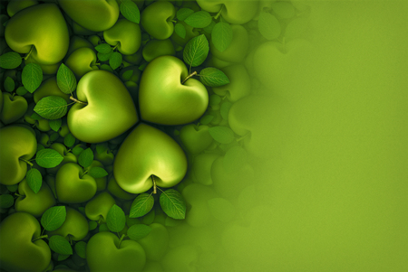 3D illustration of green heart shaped apples arranged in clover like three part groupings; faded to  a blank green background. Stock Photo