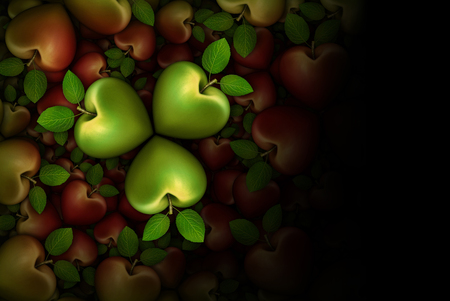 3D illustration of green and red heart shaped apples arranged in clover like three part groupings; faded to  a black background.