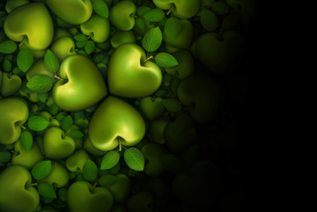 3D illustration of green heart shaped apples arranged in clover like three part groupings; faded to  a black background. Stock Photo