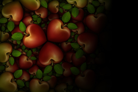 3D illustration of red heart shaped apples arranged in clover like three part groupings; faded to  a black background. Stock Photo