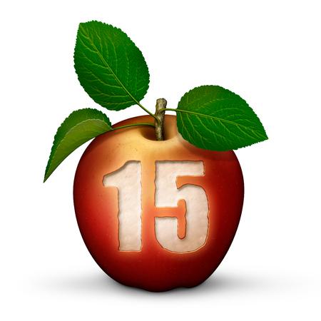 数15のりんごの3D イラスト。
