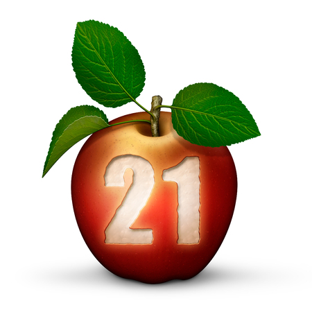 3D illustration of an apple with the number 21 bitten out of it. Stock Photo