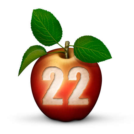3D illustration of an apple with the number 22 bitten out of it. Stock Photo