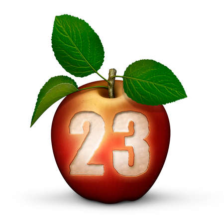 3D illustration of an apple with the number 23 bitten out of it.