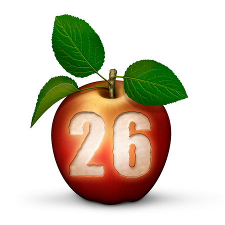 3D illustration of an apple with the number 26 bitten out of it. Stock Photo