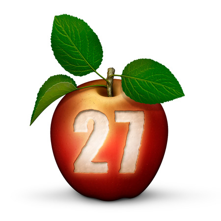 3D illustration of an apple with the number 27 bitten out of it. Stock Photo