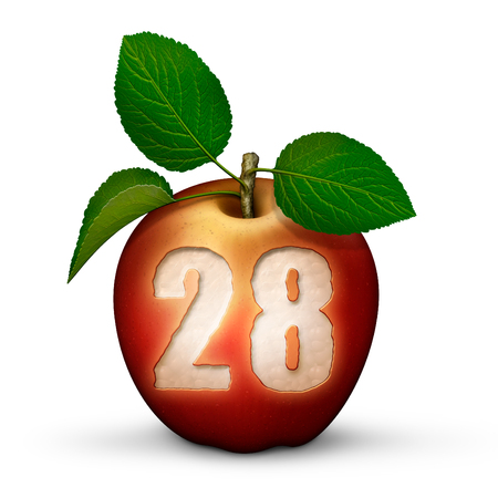 3D illustration of an apple with the number 28 bitten out of it. Stock Photo