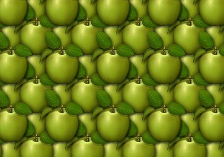 背景パターンとして配置されたリンゴのデジタル イラストです。