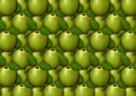 Digital illustration of apples arranged as a background pattern. Banco de Imagens