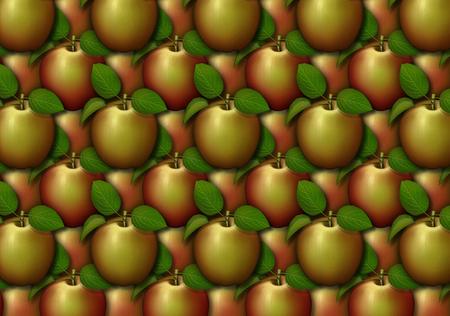 背景パターンとして配置されたリンゴのデジタルイラスト。 写真素材