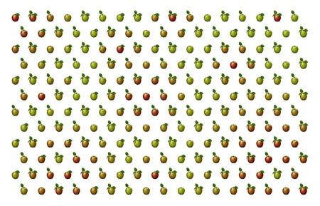 白の背景に対してパターンで配置された赤と緑のりんごの3D イラスト。 写真素材