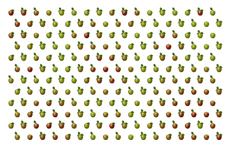 3D illustration of red and green apples arranged in a pattern against a white background. Banco de Imagens